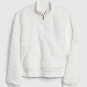 Gap White Half-Zip Sherpa Pullover Sweatshirt